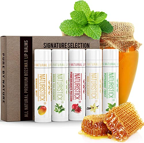5-Pack Lip Balm Gift Set by Naturistick. Assorted Flavors. 100% Natural Ingredients. Best Beeswax Chapsticks for Dry,...