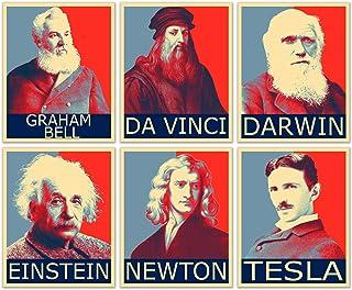 Famous Scientist Hope Posters - Set of 6 (8 inches x 10 inches) Pictures - Nikola Tesla Leonardo da Vinci Isaac Newton Alb...