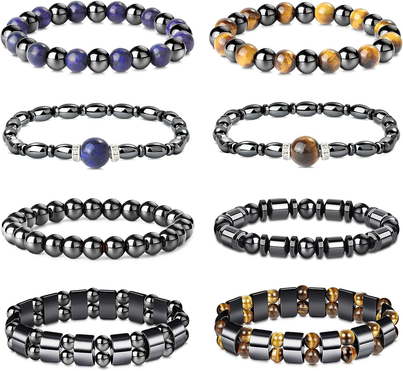 YADOCA 8 Pcs Hematite Magnetic Bracelets Set for Men Women Tiger