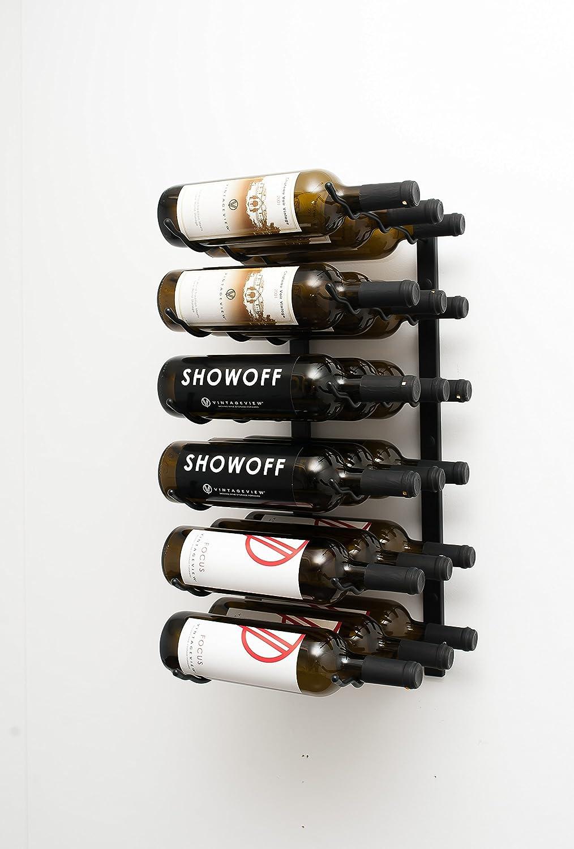 mejor moda VintageView WS23 2-Foot 18 Bottle Wall Wall Wall Mounted Wine Rack in Satin negro (3 Rows Deep) by Wine Racks America  productos creativos