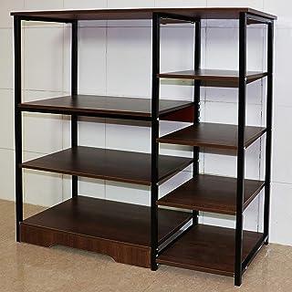 Aewio Home Kitchen Rack Office Utility Storage Shelf Multi Function Organizer Shelf (4 Layer 5-Tier Oak+Black)
