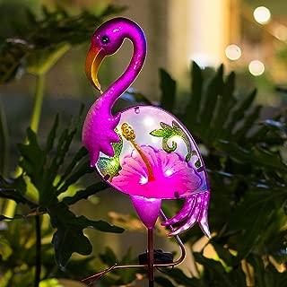 BOAER Flamingo Solar Pathway Lights Outdoor,Garden Stake Decorative Yard Art Metal& Glass Waterproof for Patio Lawn Pathway-8 Lumens