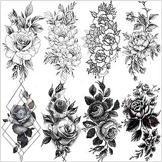 VANTATY 8 Sheets Petal 3D Black Flower Rose Temporary Tattoos For Women Waterproof Fake Body Art Arm Sketch Tattoo Sticker...