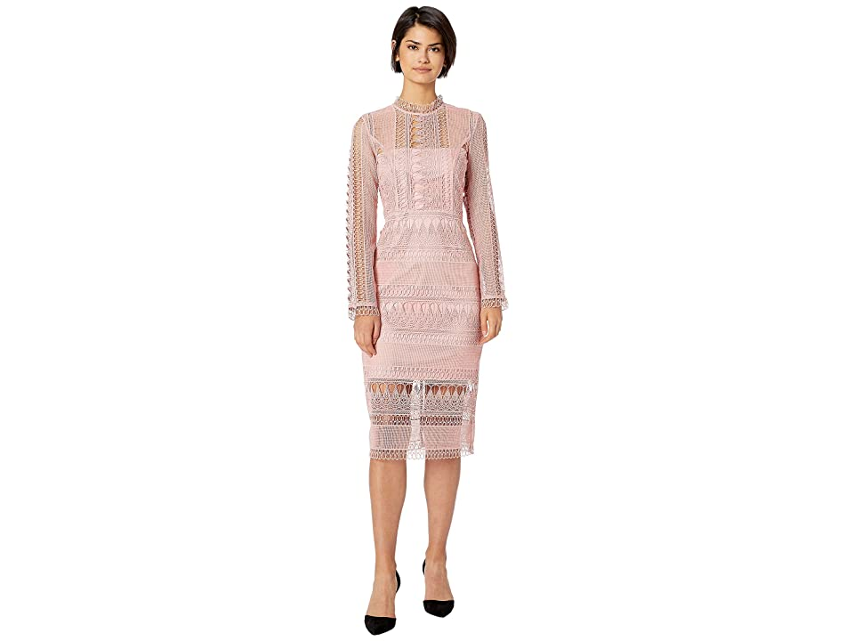 Bardot Mariana Long Sleeve Lace Dress (Vintage Rose) Women