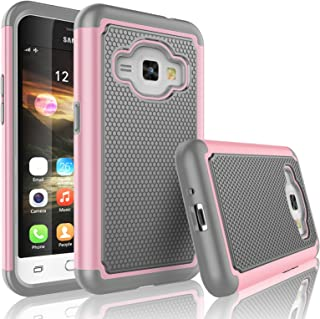 Tekcoo Galaxy Luna Case, Tekcoo Galaxy Amp 2 Case/Express 3 Case/J1 2016 Case, [Tmajor] Shock Absorbing Rubber Plastic Defender Case for Samsung Galaxy Luna/Amp 2/Express 3/J1 2016 -Pink