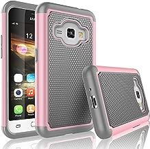 Tekcoo Galaxy Luna Case, Tekcoo Galaxy Amp 2 Case/Express 3 Case/J1 2016 Case, [Tmajor] Shock Absorbing Rubber Plastic Defender Case for Samsung Galaxy Luna/Amp 2/Express 3/J1 2016 -Pink