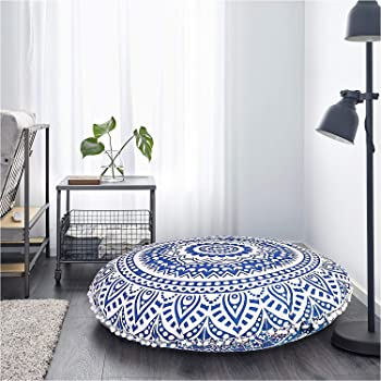 Stylo Culture Indian Floor Pillow Cushion Cover Mandala Meditation Cushion Boho Seating Dark Blue Large 32x32 Decorative Round Tuffet Seat Pouf Cover Footstool Cotton Peacock Feather 1 Pc