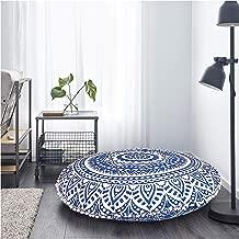 Gokul Handloom Indian Large Mandala Floor Pillow Comfortable Home Car Bed Sofa Large Mandala Floor Pillows Round Bohemian Meditation Cushion Cover Ottoman Pouf Cover