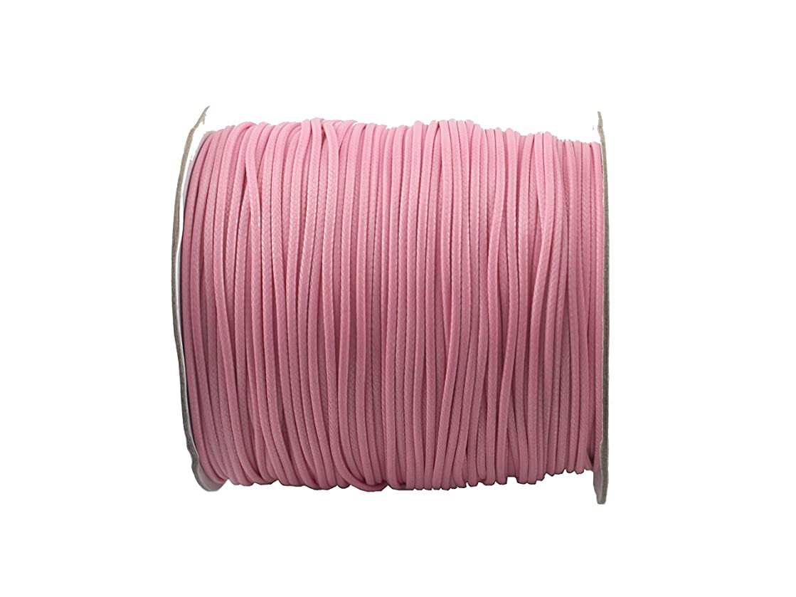 QIANHAILIZZ 200 Yards 1.5 mm Waxed Jewelry Making Cord Waxed Beading String Craft DIY Thread (Pink)