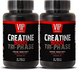 Creatine Tri-Phase 5000 - Premuim Blend of Creatine Monohydrate, Creatine HCL and Creatine Pyruvate (2 Bottles 180 Tablets)