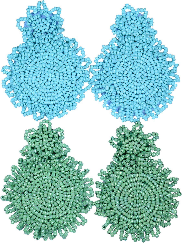 2 Pairs Statement Dangle Earrings for Women - Bohemian Beaded Round Drop Earrings Long Chandelier Earrings Idea Gift