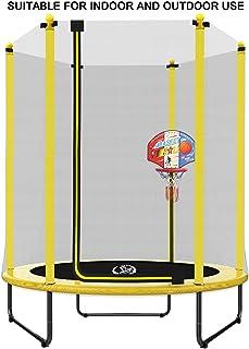 comprar comparacion LANGXUN Dia 150 x H 180 cm Trampolín Amarillo con Soporte de Baloncesto, Caja de Seguridad de Red, Uso Interior / Exterior...