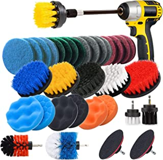 JUSONEY Drill Brush Scrub Pads 31 Piece Power Scrubber Cleaning Kit - All Purpose Cleaner Scrubbing Cordless Drill for Cle...