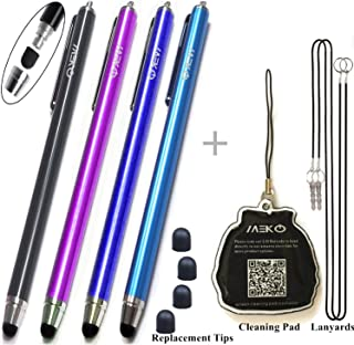 {Upgrade Version} 4Packs Premium Branded Styli/Stylus, MeKo[0.22-inch Rubber Tip Series] 5.5 L Replaceable Thin-Tip Stylus For all Touch Screen Smart Phones &Tablets - 4Pcs (Black&Dark Blue&Purple&Ocean Blue) + 4 Extra Replaceable Soft Rubber Tips and 2 X 15 Detachable Elastic Lanyards by MEKO