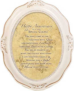 Cottage Garden Happy Anniversary Special Couple Distressed Ivory Wavy 5 x 7 Oval Table and Wall Photo Frame