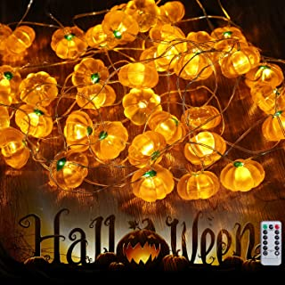 Halloween String Lights, Orange Pumpkin String Lights with 40 LED, Battery Operated Halloween Lights for Outdoor Indoor Decorations, Remote Control Lights String for Halloween Party, Path Lights