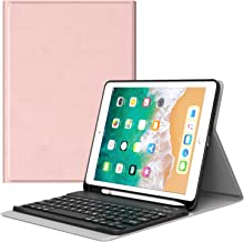 MoKo Keyboard Case for iPad 9.7 2018 with Pencil Holder - Wireless Keyboard Cover Case for All-New iPad 9.7 Inch 2018 Released Tablet (A1893 / A1954), Rose Gold