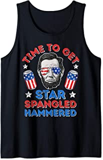 Time To Get Star Spangled Hammered 4th Of July Men Lincoln Tank Top