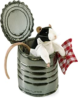 """Folkmanis Rat in Tin Can Hand Puppet, 8"""", White/Black/Tan"""