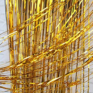 Emptystar Curtain Rod - 2 Pack Foil Curtains Tinsel Gold Foil Curtains (1x2.5m) Metallic Fringe Curtains Shimmer Photo Booth Backdrop Curtain for Birthday Wedding Party Christmas Decorations
