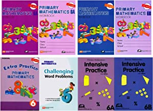 Singapore Math Primary Mathematics Complete Grade 6 Set (8 Books): 2 Textbooks, 2 Workbooks, 2 Intensive Practice, Extra Practice and Challenging Word