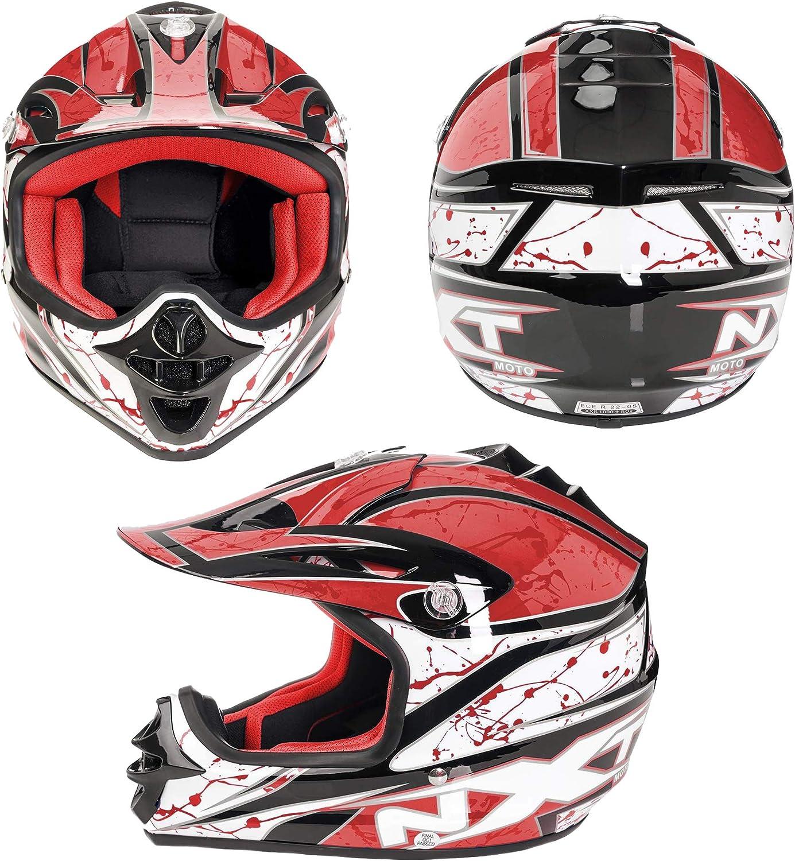 Casque MX Enfant Enfant Moto Scooter Racing Junior Rouge XXXS Enfant Casque de Protection Complet Face Off Road