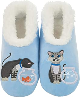Snoozies Womens Pairables - Funny Slippers for Women - Womens Slippers - House Slippers - Cat/Fishbowl