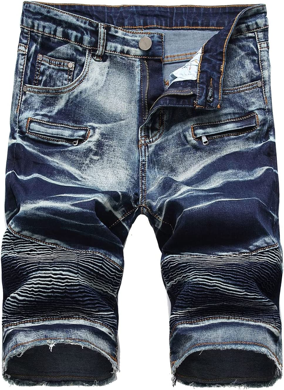 Men's Casual Stretch Slim Jean Short Fashion Retro Distressed Denim Short-pant Straight Fit Biker Pleated Denims Shorts (Dark Blue,28)