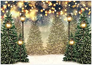 Winter 12x10 FT Vinyl Photo Backdrops,Winter Scene with Deer Frozen Trees and Snow Christmas Season Pine Trees Bushes Background for Selfie Birthday Party Pictures Photo Booth Shoot