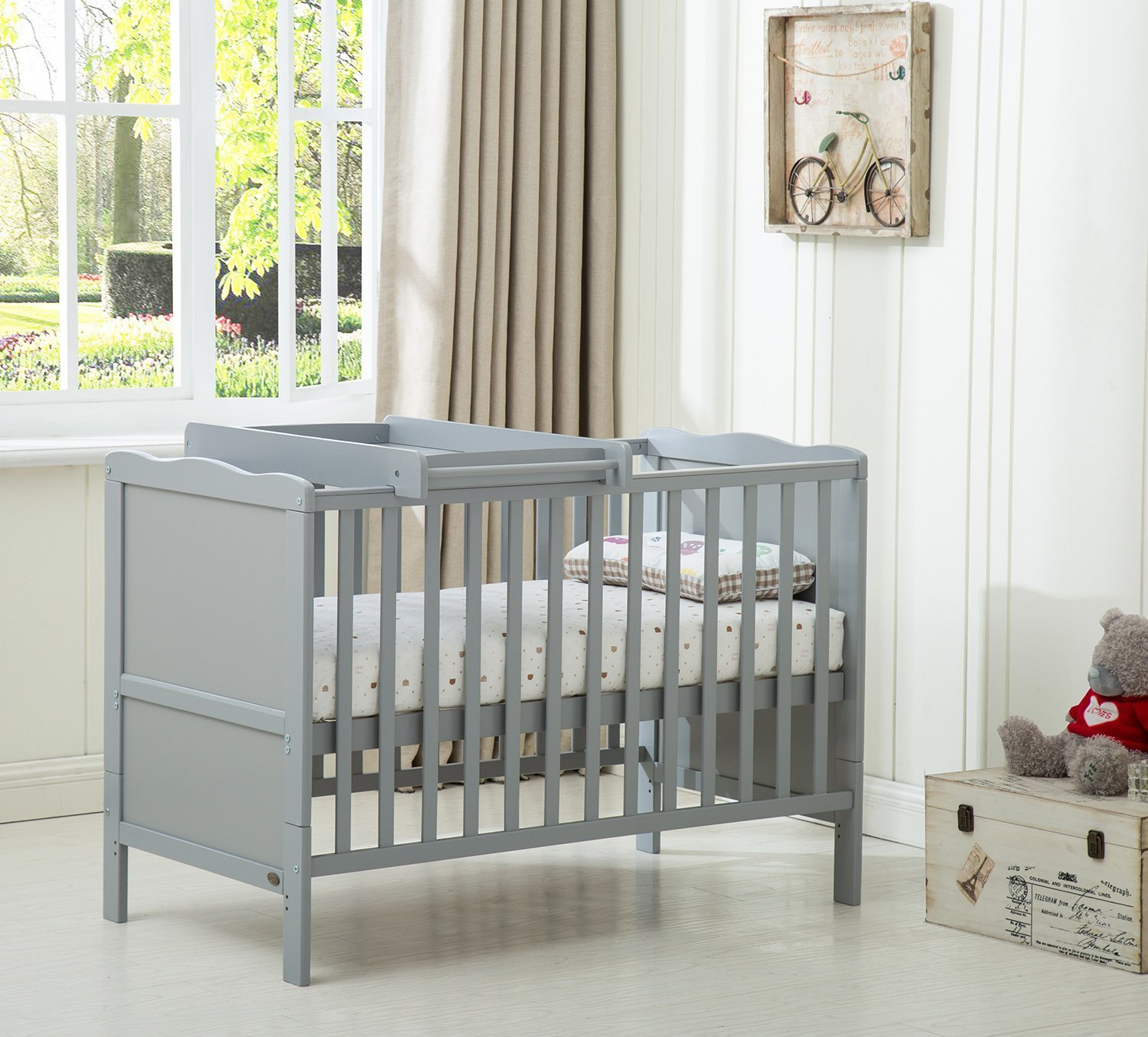 Wooden Baby Cot Bed✔Mattress✔Top Changer✔Teething rails-Converts to Junior Bed 8