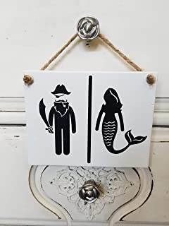 Nautical Bathroom Hanging Wood Sign By Sonoran Cottage Designs Pirate Mermaid 7