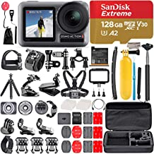 2019 DJI Osmo Action Camera with 2 Screens, 4K HDR Video, 11m(36ft) Waterproof, comes 128GB Micro SD, Carrying Case, Floating Handle, Portable Handheld, 50 in 1 Combo, 1 Year Limited Warranty