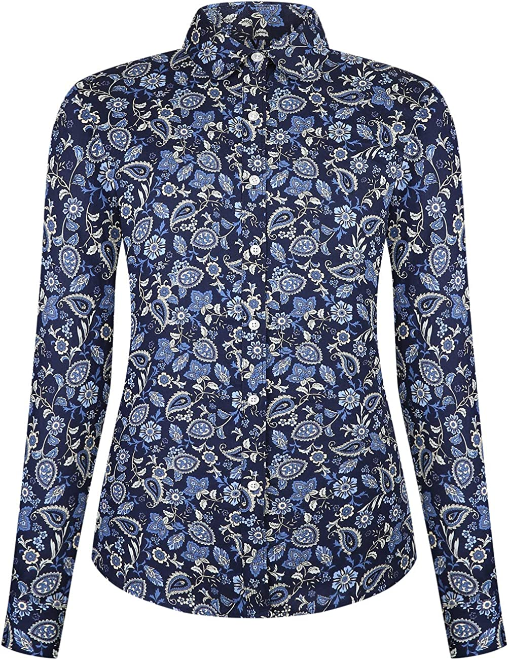 DOKKIA Women's Tops Casual Blouses Floral Cotton Long Sleeve Work Button Up Dress Shirt