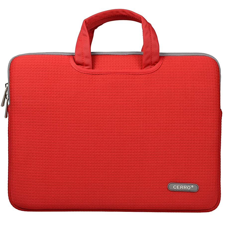 CERRO 14 inch Laptop Sleeve Slim Portable Neoprene Carrying Laptop Sleeve Case Bag/Handles and Accessory Pocket Diving Material (D14 Inch, red)