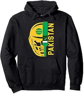 Cricket Pakistan Fan Helmet Ball and Bat Design Pullover Hoodie