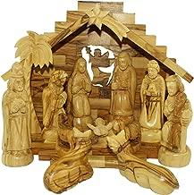 Holy Land Market Traditional Bethlehem Olive Wood Nativity Set Large