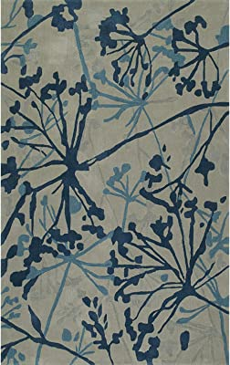 Addison Zenith Blue/Grey Contemporary Wool-Blend Floral Area Rug (5' x 7'6)