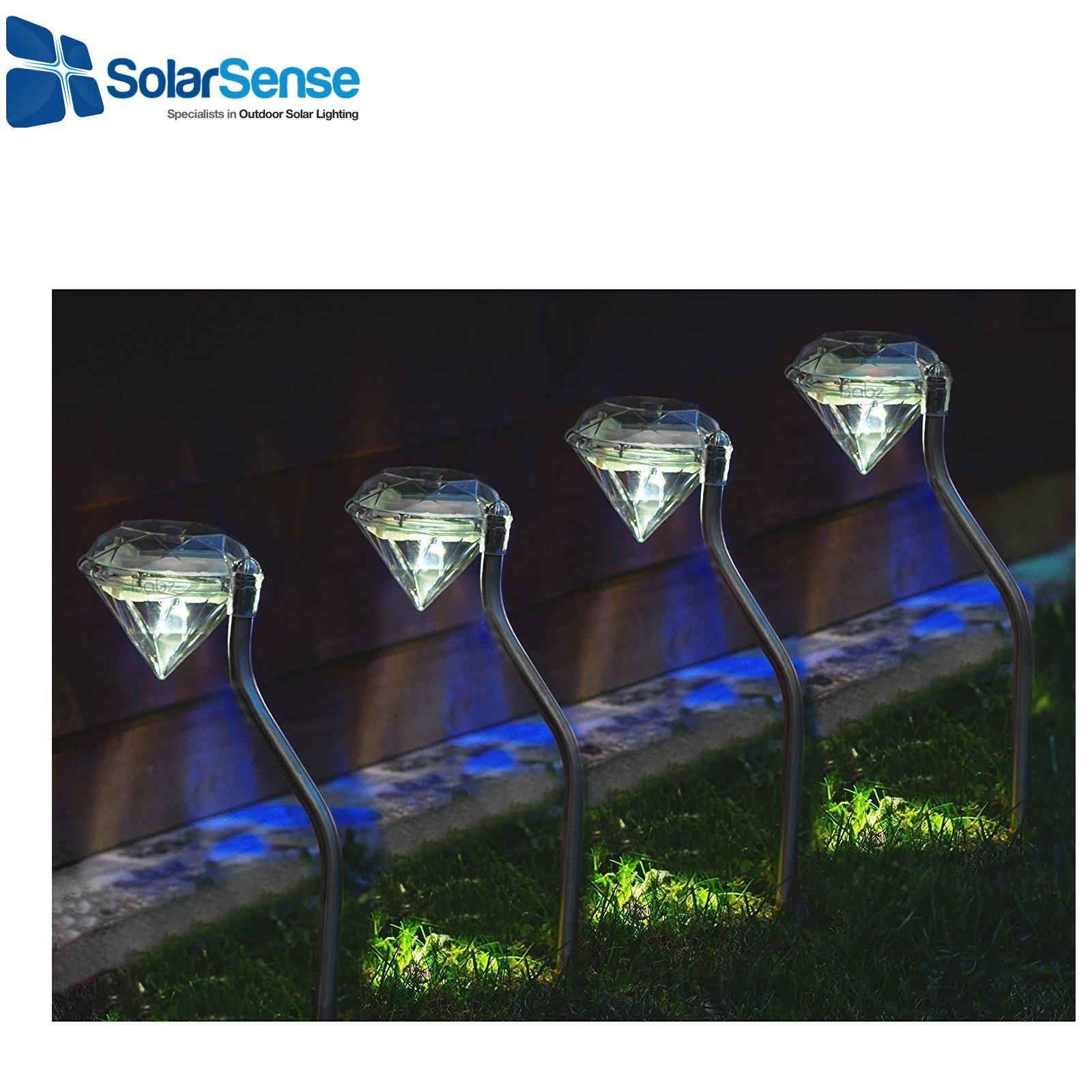 SolarSense Juego de 4 luces solares de jardín con diamantes, luces LED blancas para jardín, faroles de jardín, energía solar para jardín, patio de camino al aire libre: Amazon.es: Iluminación