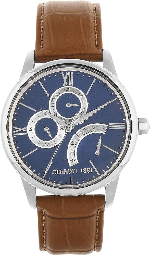 Cerruti 1881,orologio per uomo,in acciaio e cinturino in pelle al 100 % CRA26501