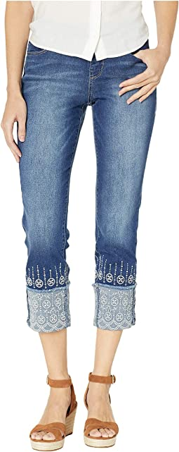 Lewis Straight Pull-On Cuffed Denim Crop w/ Embroidery in Kodiak Blue