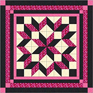 Easy Quilt Kit Carpenters Wheel/ Pink/Black Camo-Expedited shippin/Queen