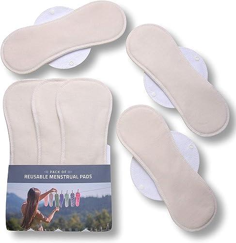 Serviettes hygiéniques lavables, lot de 6 en coton BIO (de tailles L et XL), pads menstruelles FABRIQUÉES EN UE; culo...