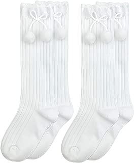 Jefferies Socks Girls Pom Pom Bow School Uniform Knee High Socks 2 Pair Pack