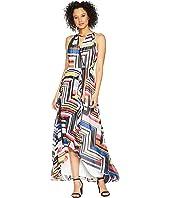 Sangria Multicolor Color Print Maxi Dress