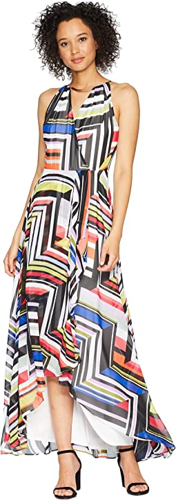 Multicolor Color Print Maxi Dress