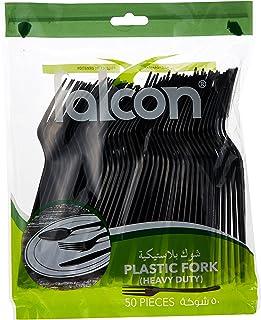Falcon Plastic Black Fork - 50 Pieces