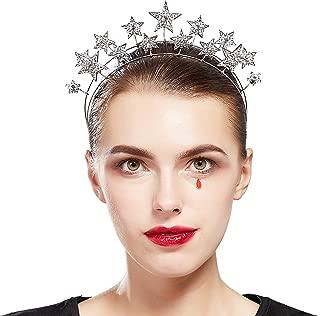 Coucoland Vintage Halo Crown Headpiece Star Celestial Crystal Headband Goddess Halo Crown Costume Spike Head Piece for Wedding Show