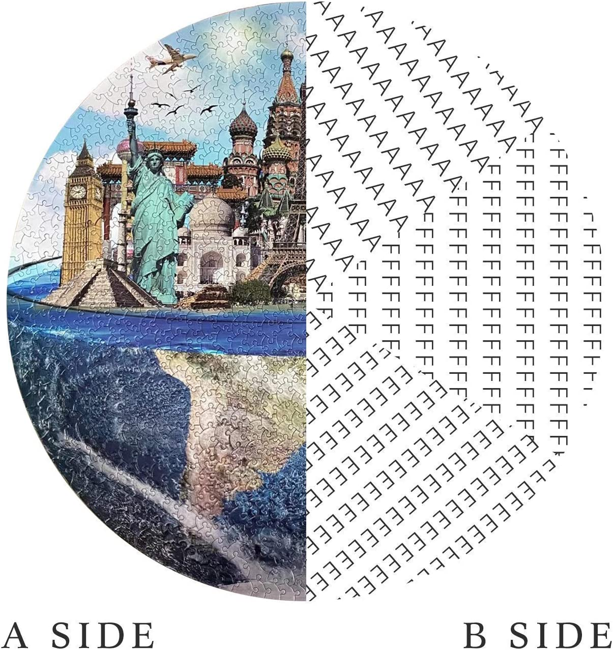 Gift for Adults and Kids,TNYGoods ZXCVBNM Scenic Landscape Round Puzzles for Adults and Couples Jigsaw Puzzles 1000 Pieces