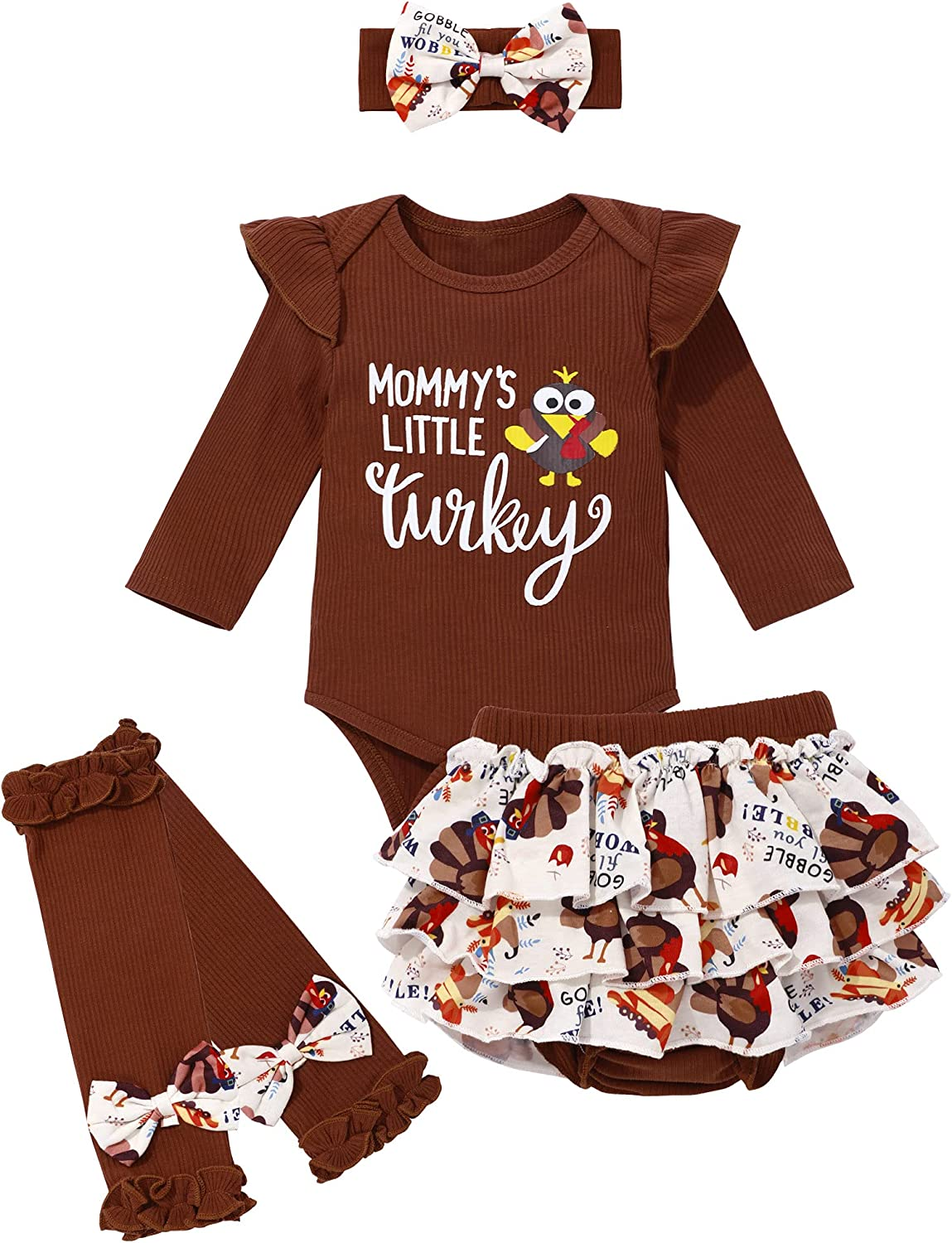 Baby Girl Clothes Thanksgiving Day Outfit, Infant Baby Girl Turkey Romper + Shorts + Legging + Headband 4Pcs Outfits Sets