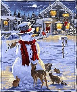 Dawhud Direct Snowman and Friends Holiday Lights Fleece Throw Blanket